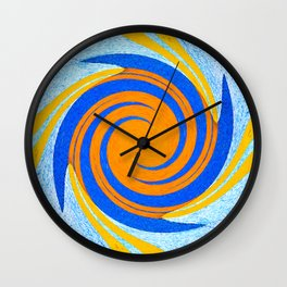 Colorful orange and blue spiral swirling elliptical constellation star galaxy abstract design Wall Clock