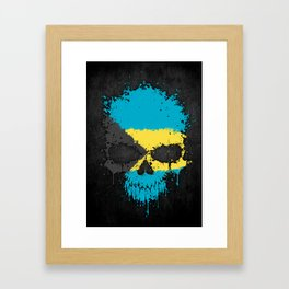 Flag of Bahamas on a Chaotic Splatter Skull Framed Art Print