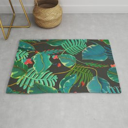 dark tropical red flowers Rug