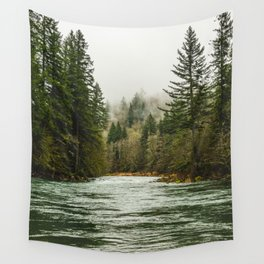 Wanderlust Forest River - Mountain Adventure in Foggy Woods Wall Tapestry