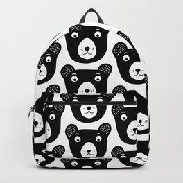 Cute black and white bear illustration Backpack