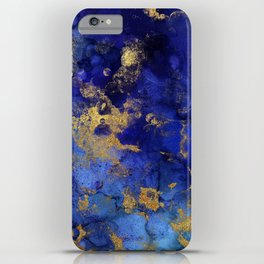 Gold And Blue Indigo Malachite Marble iPhone Case