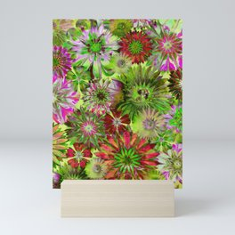 Rivalry of Flowers - green & red Mini Art Print