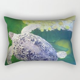 Sea Turtle on Lime Green Rectangular Pillow