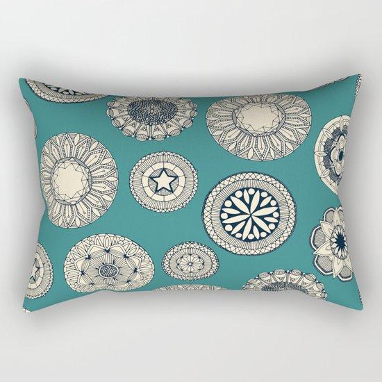 mandala cirque spot teal Rectangular Pillow