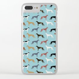 Greyhound Dog pet portrait dog lover must have gifts perfect christmas present for dog person Clear iPhone Case