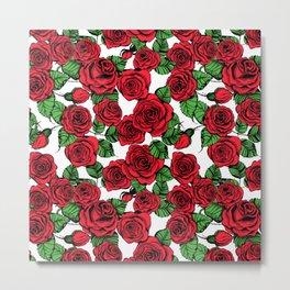 Red roses pattern Metal Print