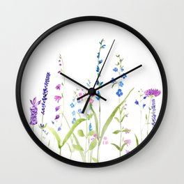 purple blue wild flowers watercolor painting Wall Clock