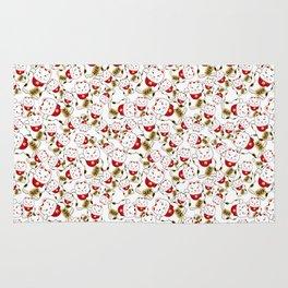 Good luck cat pattern/ red Maneki-neko Rug