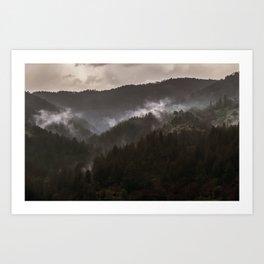 Foggy morning in Bosnia Art Print