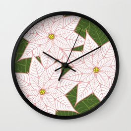 White and Pink Poinsettias, Christmas Holiday Flowers Wall Clock