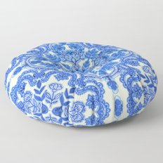 Cobalt Blue & China White Folk Art Pattern Floor Pillow