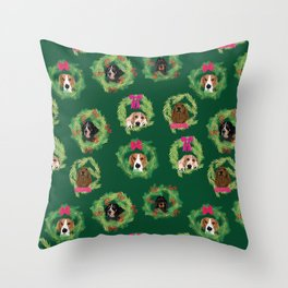 Coonhound Wreaths in Green Throw Pillow