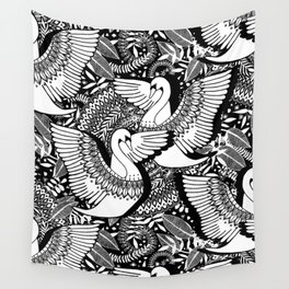 Stylish Swans in Monochrome Black and White Wall Tapestry