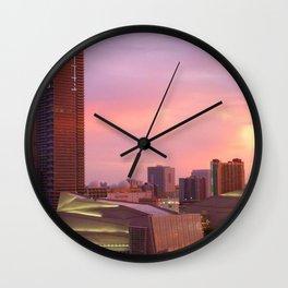 Miami Skyline Sundown Wall Clock
