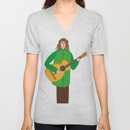 Guitarist in green Unisex V-Neck