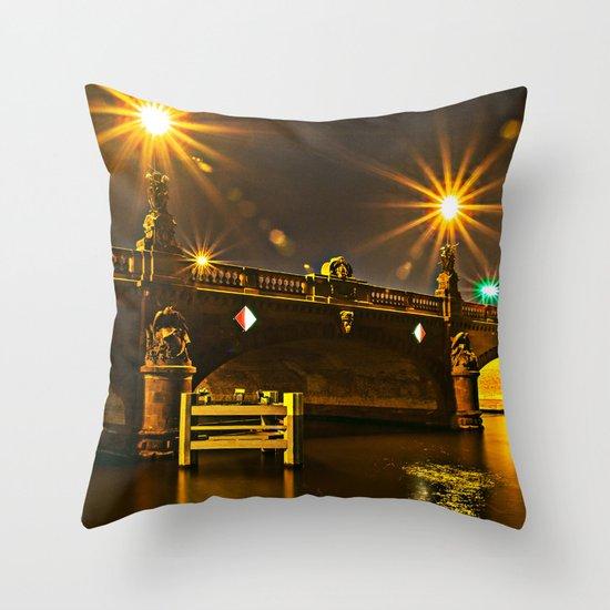 Night on the Moltke-Bridge in Berlin Throw Pillow