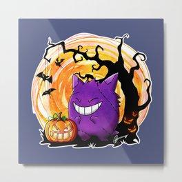Happy Halloween Gengar Metal Print