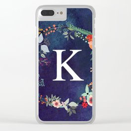 Personalized Monogram Initial Letter K Floral Wreath Artwork Clear iPhone Case