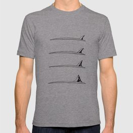 Surfboard fin transformation T-shirt