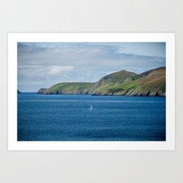 Sailboat by the Blasket Islands Art Print