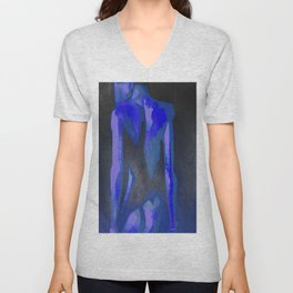 Beautiful Young Woman Wearing Plaits and Panties (Blue) Unisex V-Neck