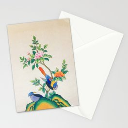 Minhwa: Peony and Two Little Birds (Korean traditional/folk art) Stationery Cards