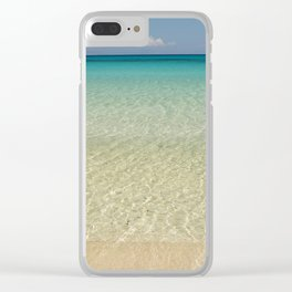 Crystal clear turquoise shaded waters of a sandy beach Clear iPhone Case