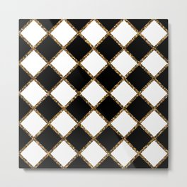 Geometric ornament gold seamless pattern Metal Print