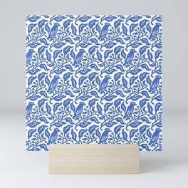 Bird and Berries Pattern Blue Mini Art Print