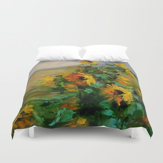 Sunflowers in a field Duvet Cover