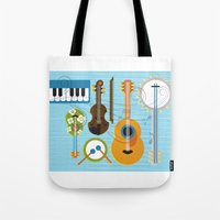 the mortal instruments Tote Bags featuring Simply Instruments by Paige Design, Inc.