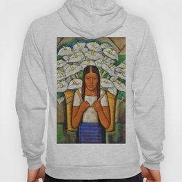 Young Guadalajara Flower Seller with Calla Lilies by Diego Rivera Hoody