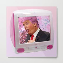 Kawaii Trump Glitter Puke Metal Print