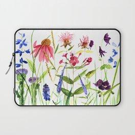 Botanical Colorful Flower Wildflower Watercolor Illustration Laptop Sleeve