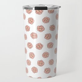 Coral pink white modern roses floral illustration Travel Mug