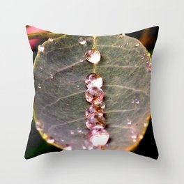 Water Drops Leaf Throw Pillow