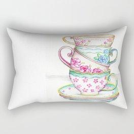 Tea Cup Art Kitchen Watercolor Painting Drawing Rectangular Pillow