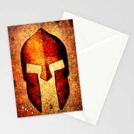 Spartan Helmet On Rust Background - Molon Labe Stationery Cards
