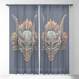 Killmonger Tribal Mask Sheer Curtain