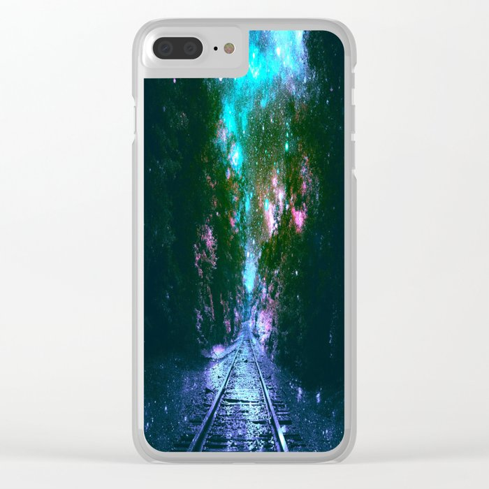 train tracks Next Stop Anywhere bright Clear iPhone Case