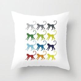 Neon Pop Art Retro Monkey Primate Gift Idea Throw Pillow