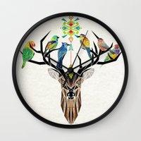 yetiland Wall Clocks featuring deer birds by Manoou