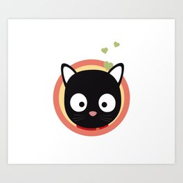 Black Cute Cat With Hearts Art Print