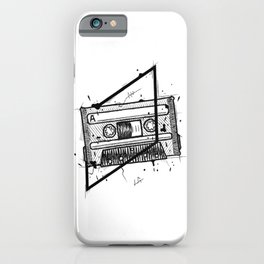 Audio Cassetta Handmade Drawing, Made in pencil and ink, Tattoo Sketch, Tattoo Flash, Blackwork iPhone Case
