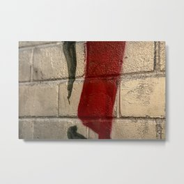 shiny silver spray paint background, red and black line, urban art Metal Print