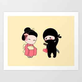 Tiny Ninja and Geisha Art Print
