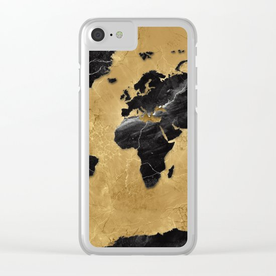 world map marble gold 2 Clear iPhone Case
