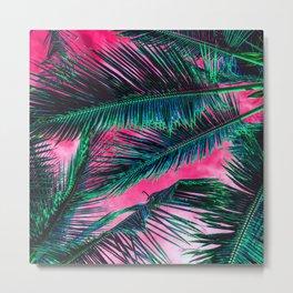 Tropical Summer Pink White Gradient Sky Teal green Palm Tree Leaves Metal Print