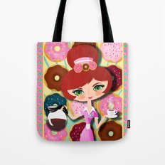 Hot Coffee And Fresh Donuts Tote Bag
